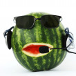 Head-like watermelon in  headphone - Stock Photo