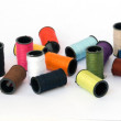 Colorful spools of threads — Stock Photo