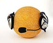 Muskmelon in headphone — Stock Photo