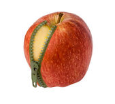 Apple with zipper — Stock Photo
