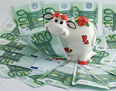 A cow the money bank on money pasture — Stock Photo
