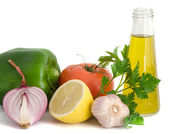 Vegetables, herbs, lemon anf olive oil — Stock Photo