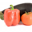 Eggplant, sweet pepper, and tomato — Stock Photo