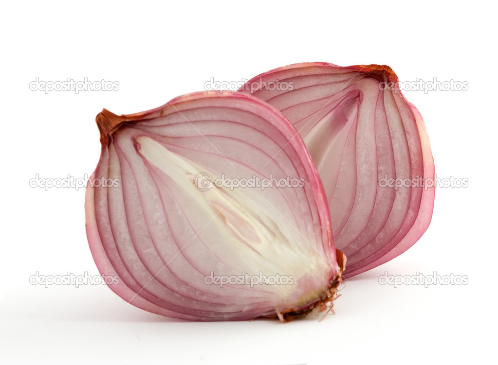 Two onion halves isolated on white background  Stock Photo #1876346