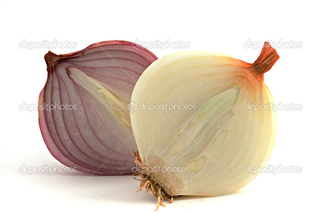 Two onion halves isolated on white background — Stock Photo #1876407
