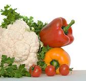 Bloemkool, tomaten, paprika 's — Stockfoto