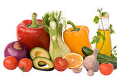 Different vegetables, herbs, and oil — Stock Photo