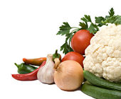 Cauliflower, tomatoes, bell peppers, — Stock Photo