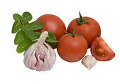 Tomatoes, galic and mentha — Stock Photo