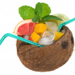 Tropical cocktail with coconut — Stock Photo