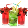 Fruits cocktails with berries and lime — Stock Photo