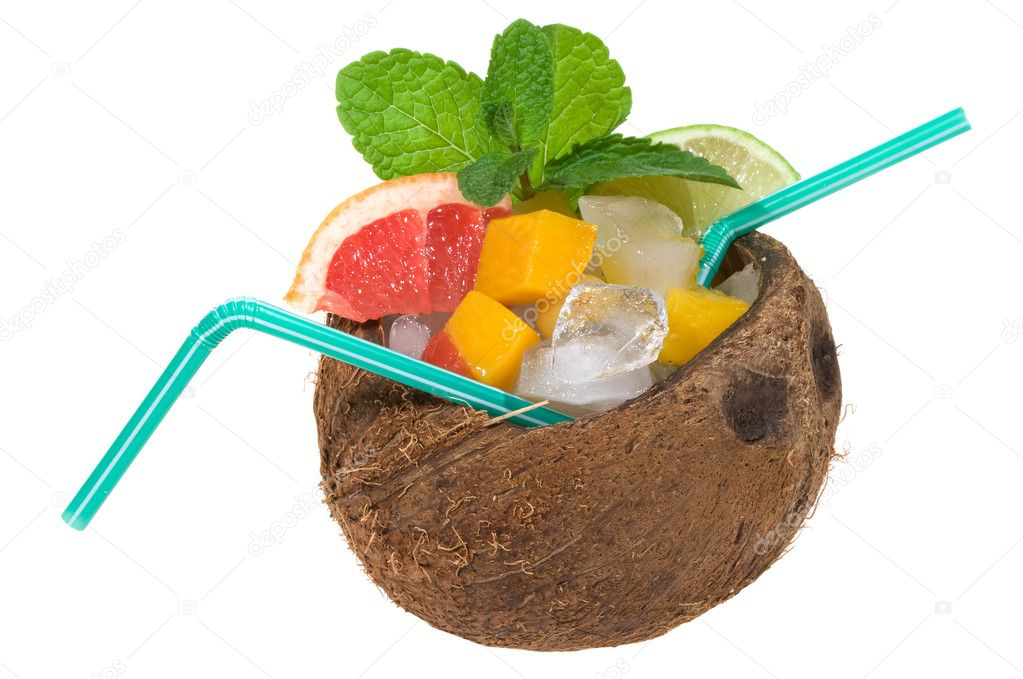 Tropical cocktail with coconut on white background  Stock Photo #1813144