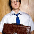 Businessman with briefcase in a hand - Stock Photo