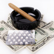Money,pills and cigar - Stock Photo