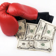 Red Boxing Gloves and money — Stock Photo