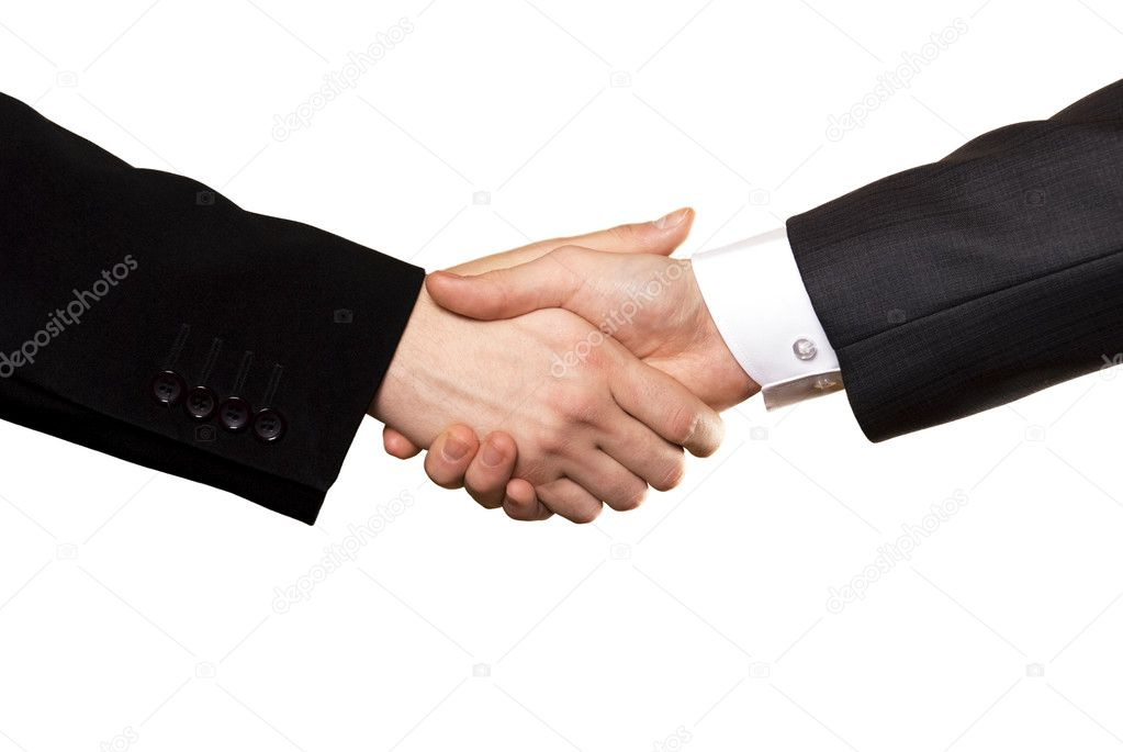 business handshake of two businessman, from isolated background — Stock Photo #1803284