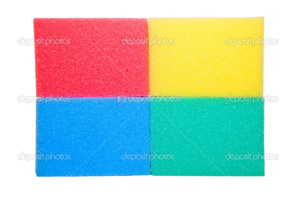 Colorful sponges isolated on a white background  Stock Photo #2098640
