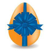 Egg with a blue bow, vector — Stock Vector