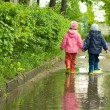 Boy and girl in puddle — Stock Photo #1951136