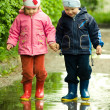 Boy and girl in puddle — Stock Photo #1951139