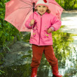 Girl in puddle with umbrella — Stock Photo #1951318