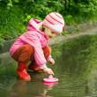 Little girl playing in puddle — Stock Photo #1977888