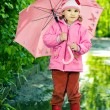 Girl stands in the puddle with umbrella — Stock Photo