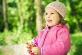 Happy girl in hat portrait — Stock Photo