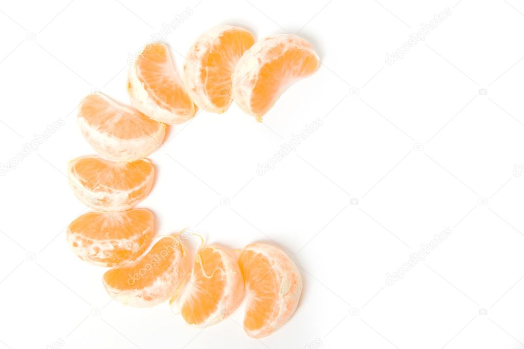 Segments of fresh tangerine fruit isolated on white background represent mark for C vitamin  Stock Photo #1877002