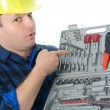 Handyman and toolbox - Stock Photo