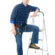 Worker and ladder — Stock Photo