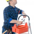 Stock Photo: Worker and tool-box