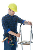 Worker with ladder — Stock Photo