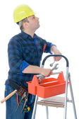 Worker and tool-box — Stock Photo