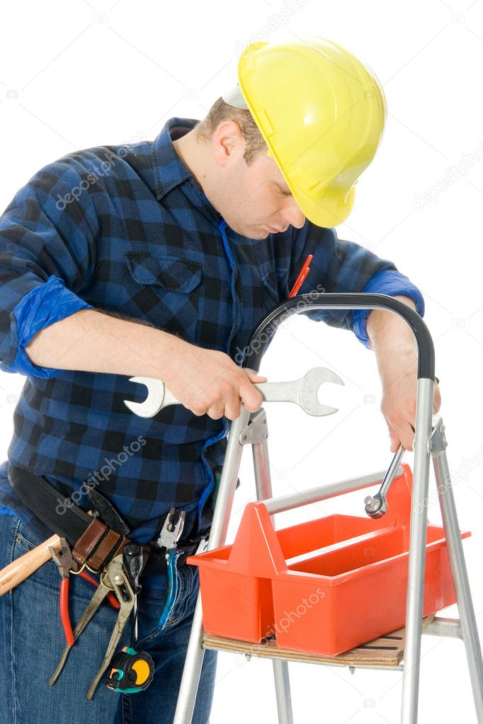 Worker (handyman) is checking his tools in tool-box on ladder — Stock Photo #2246351