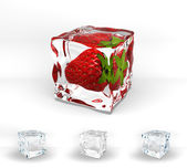Strawberry frozen in ice cube — Stock Photo