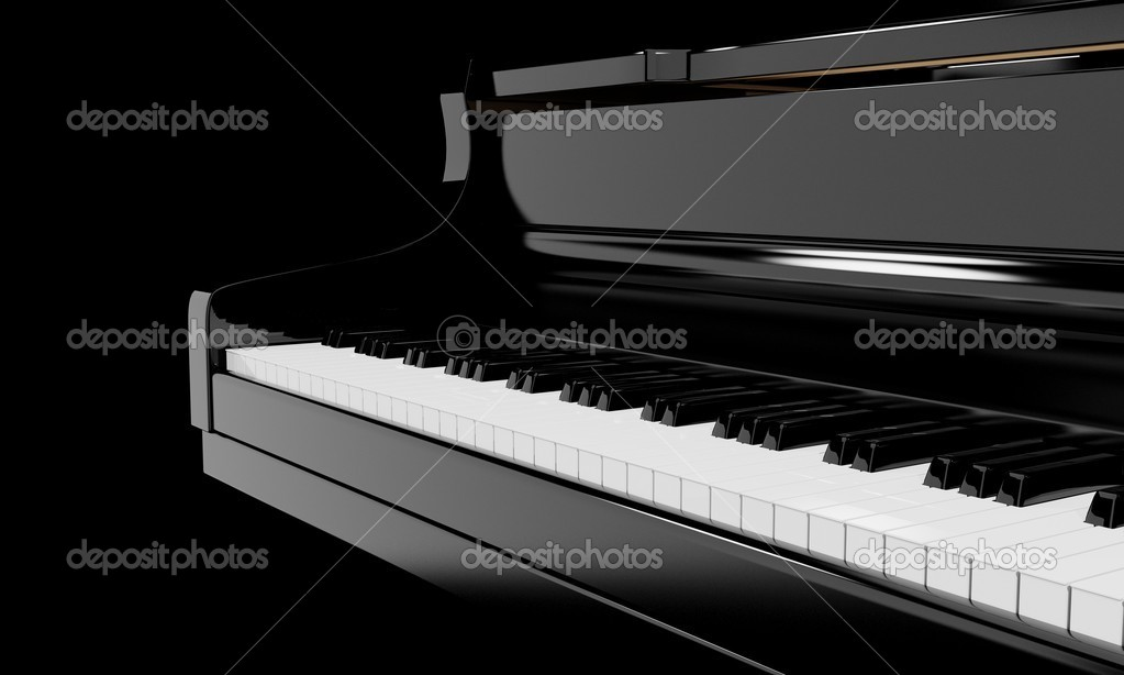 Piano keys, musical instrument, 3D rendering — Stock Photo #1820034