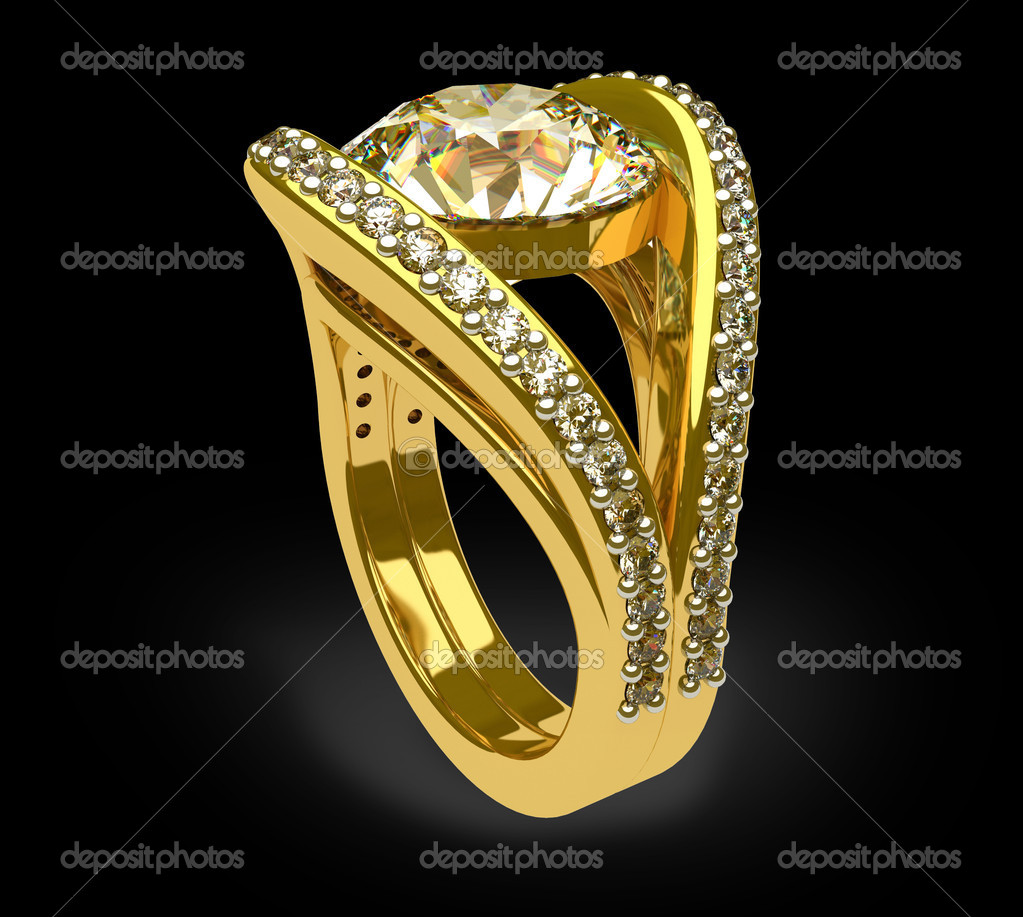 Diamond ring on a black background — Stock Photo #2370733