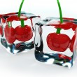 Cherries in ice cubes — Photo