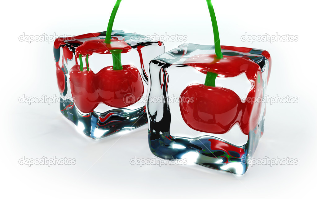 Cherries frozen in ice cubes  Stock Photo #2574241