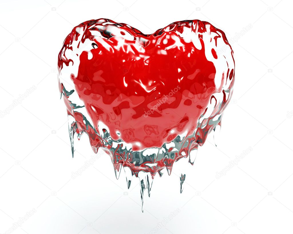 Red hot red heart in cold ice — Stock Photo #2690319