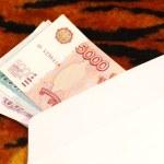 Money in envelope on tiger pattern — Stock Photo