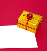 Present box and blank — Stock Photo