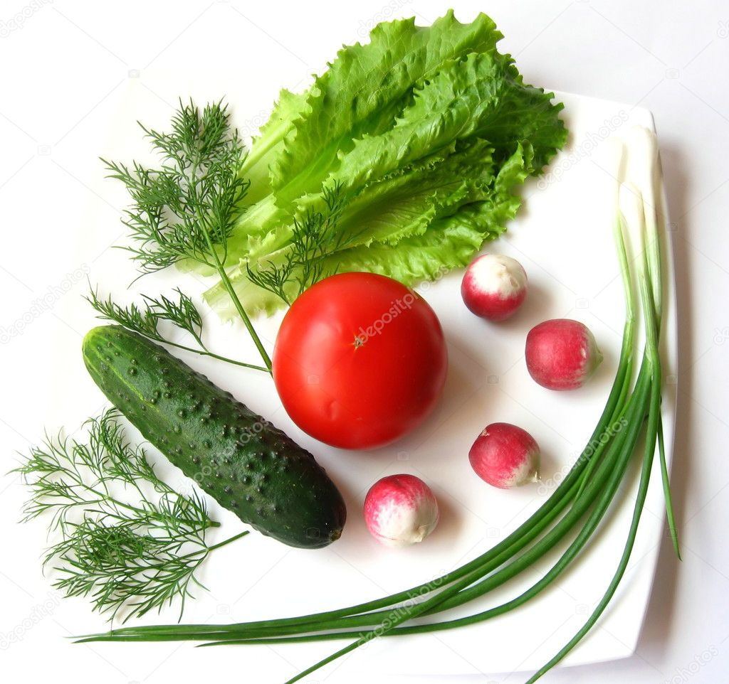 Vegetables  on white plate — Stock Photo #1834517
