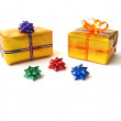 Present boxes on white — Stock Photo