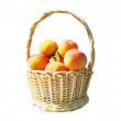 Pottle with peaches  on white — Stock Photo