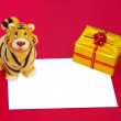 Tiger statuette,present box and blank — Stock Photo