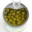 Canned green peas.isolated — Stock Photo