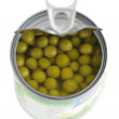 Stock Photo: Canned green peas.isolated
