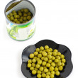 Canned green peas isolated — Stock Photo